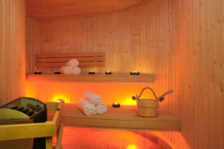 Example of a small sauna with two-levels. This is perfect for two people.