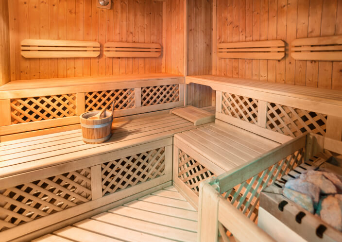 Example of sauna benches and design incorporating lattice.
