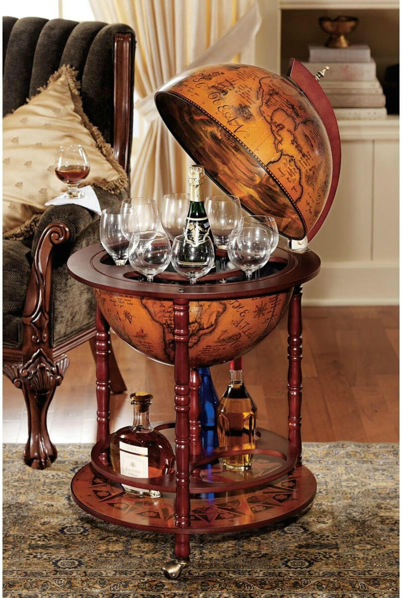 Globe wine and liquor serving table.