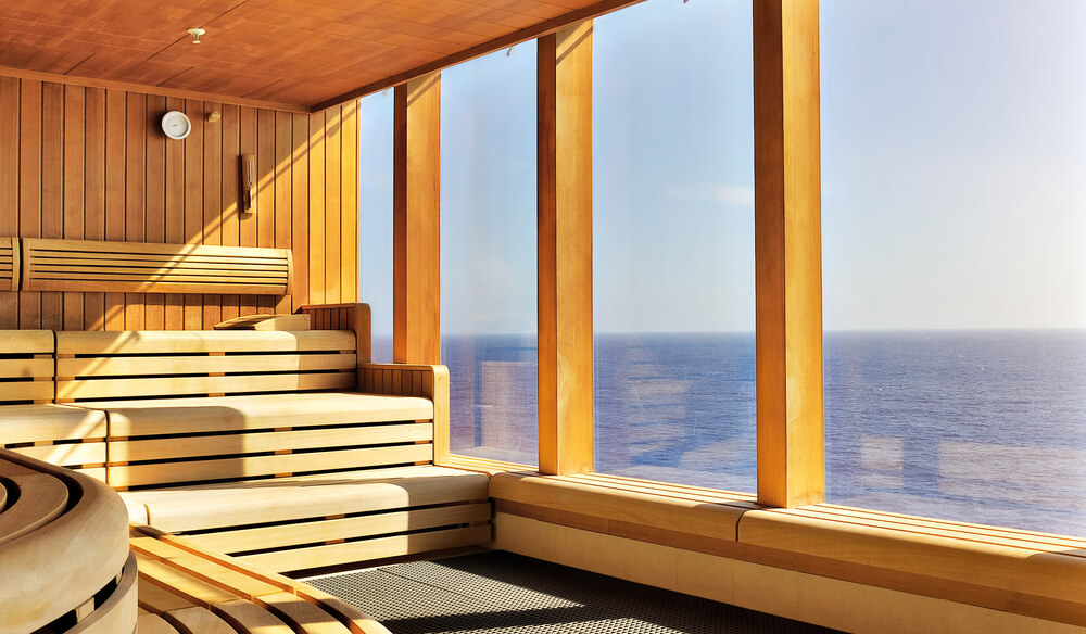 Nice Home Sauna Interior With A View Of The Water