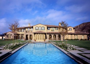 Mansion with large backyard swimming pool