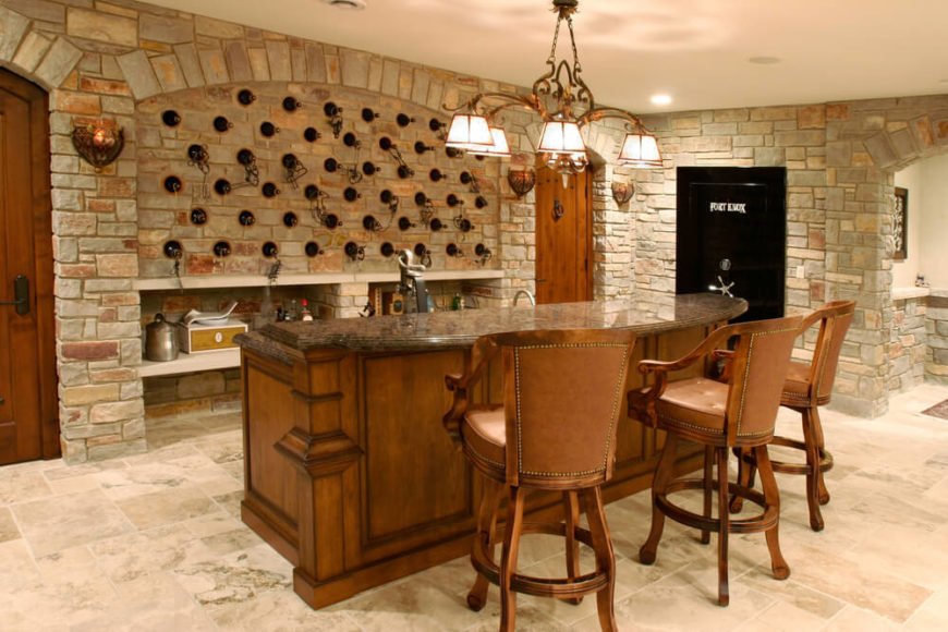 Small Bar With Wine Storage Built Int He Brick Wall.