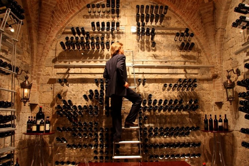 Example of a two-story wine cellar with ladder for accessing bottles stored above reach.