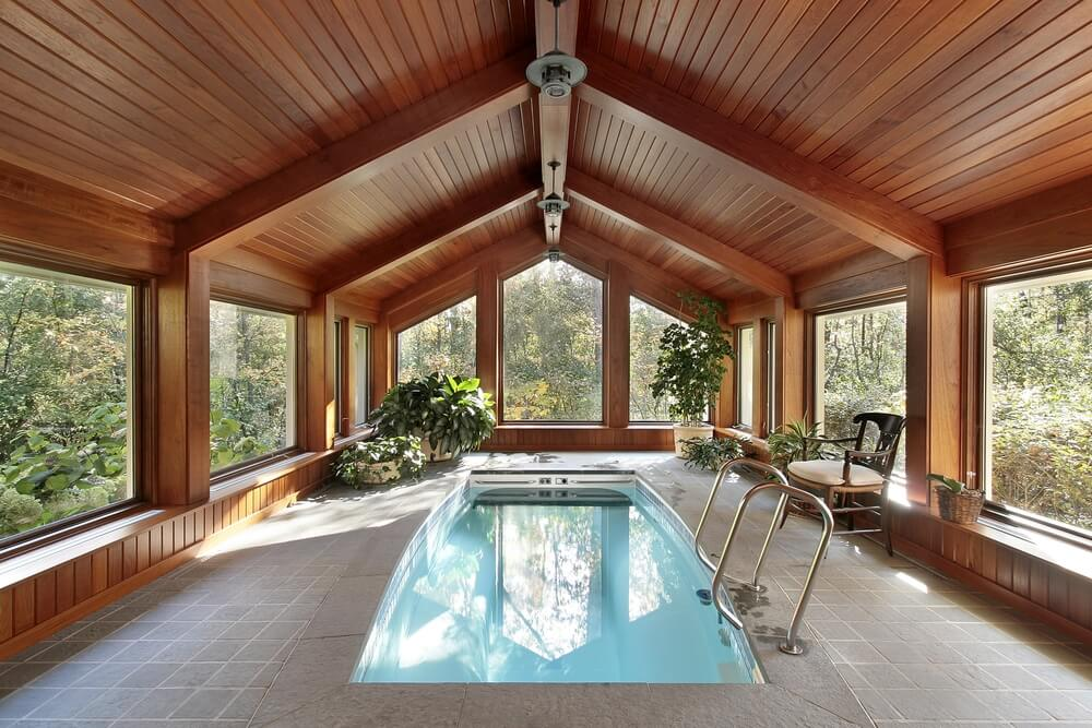 All Wood And Glass Indoor Pool Wing. Ceiling And Part Of The Walls In Wood