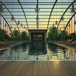 Glass-covered swimming pool