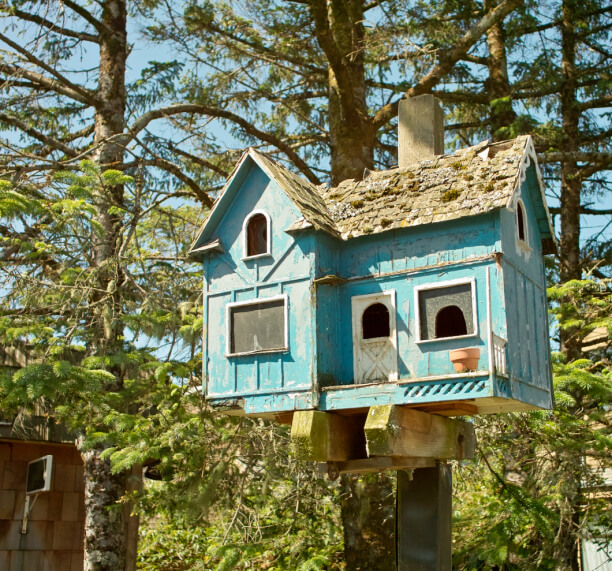 Large blue bird house that looks very much like a real house with a white front door, windows and front porch.