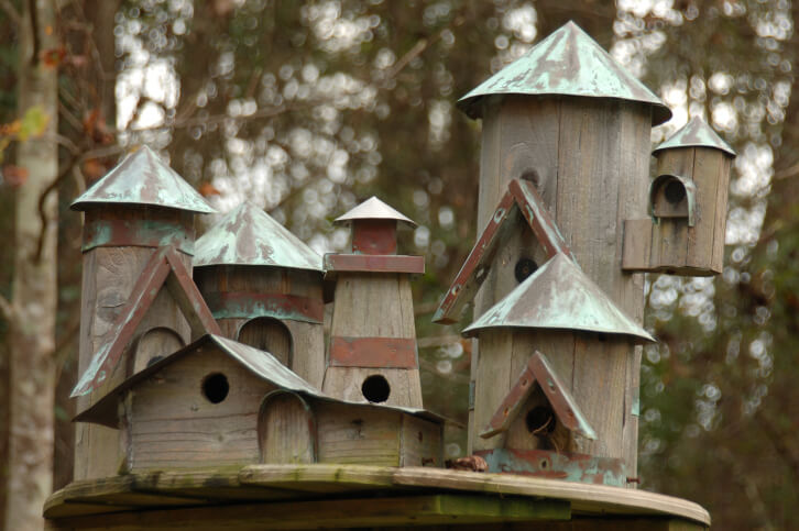 Elaborate wooden bird house