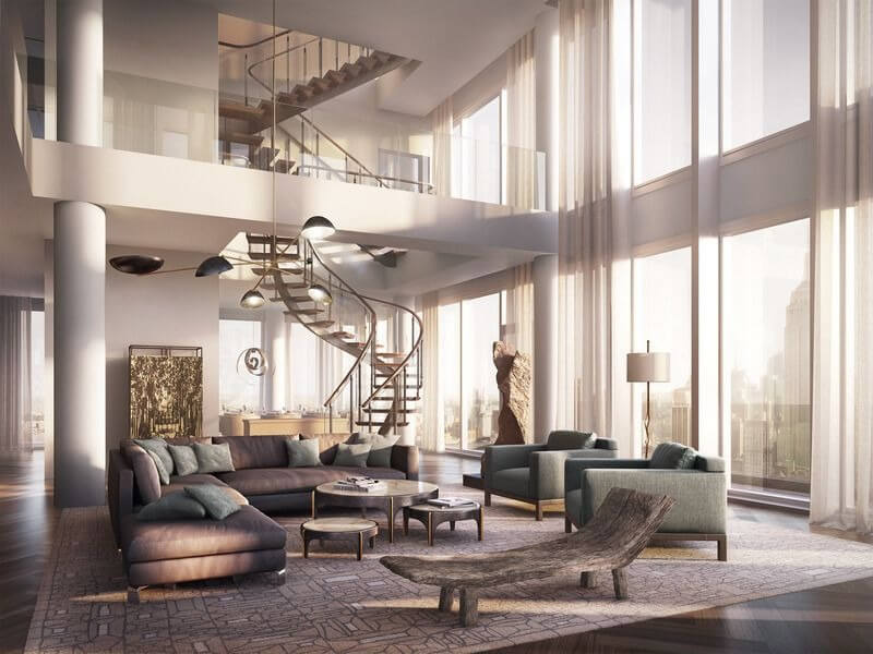 The Living Room Is Like An Atrium Where To One Side Spiral Staircase Rises  Two Stories