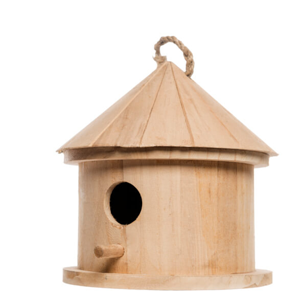 Cylinder wooden bird house.
