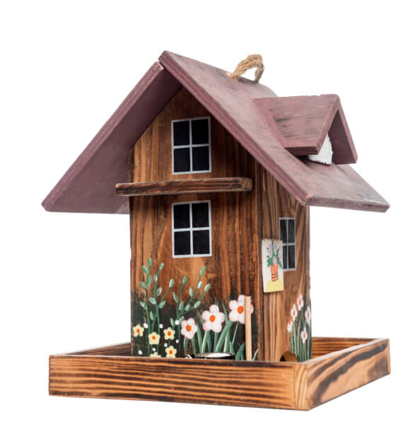 Simple symmetrical bird house that is painted to look like a home.