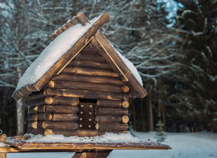 Rustic log bird house on wooden plank with snow on the roof.