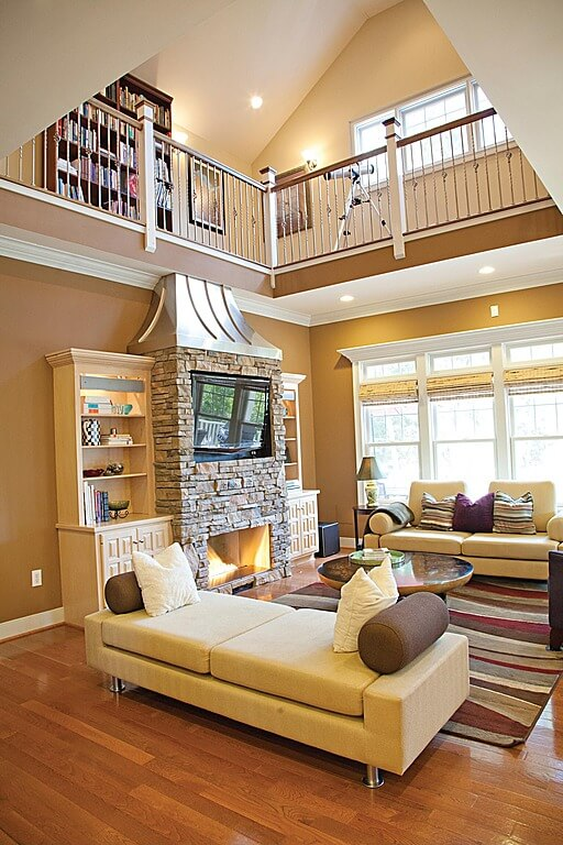Small Upper Level Library Overlooking The Living Room