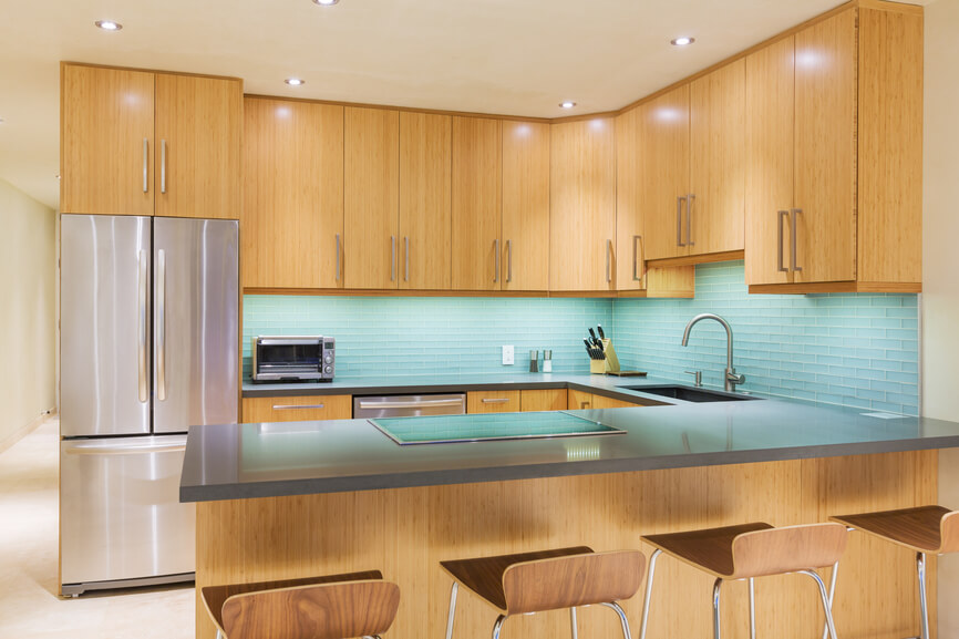 Modern Kitchen With Blue Back Splash