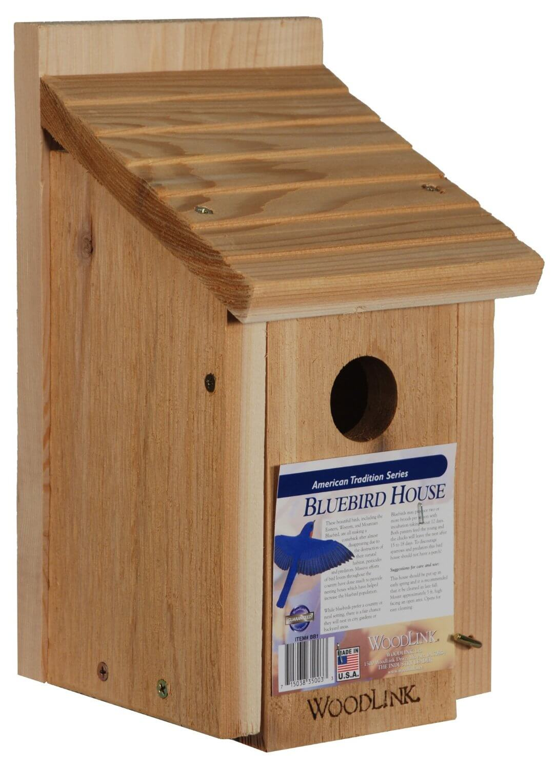 Simple Bird House Built With Kiln Dried Red Cedar Wood With Sloped Roof.