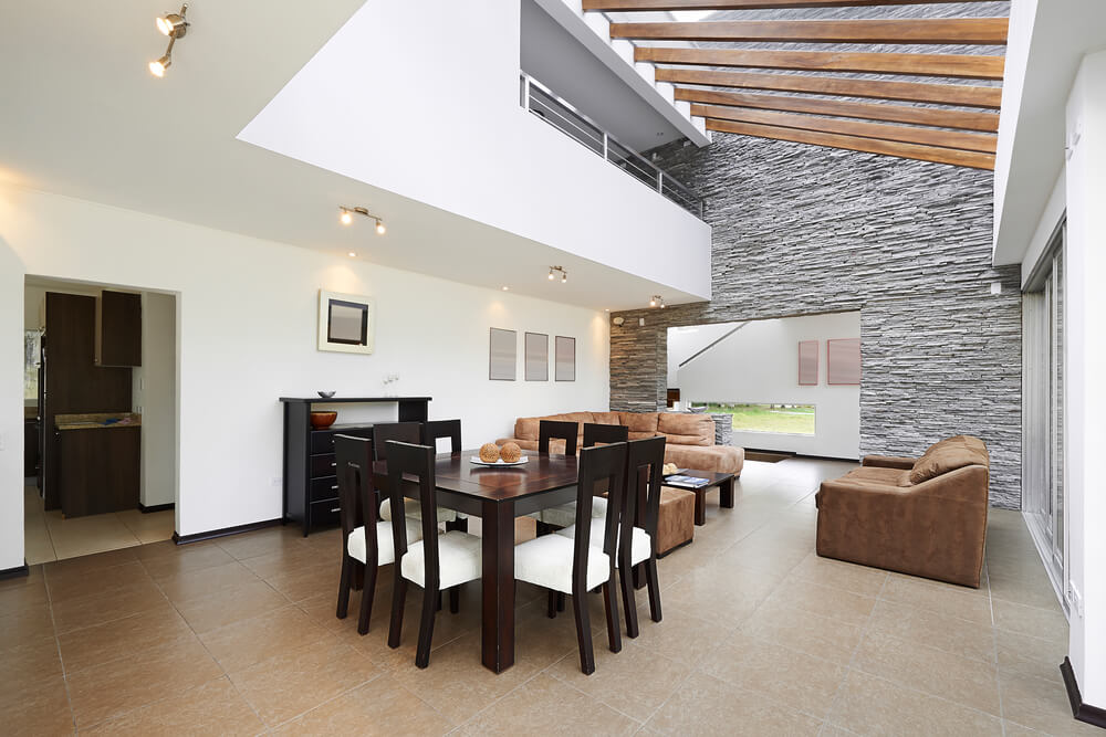 Modern Home With Loft Overlooking The Living Room.