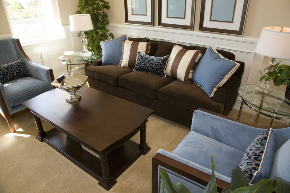 Living Room Interior Design In Dark Brown And Blue. One Dark Brown Sofa  With Two Part 11