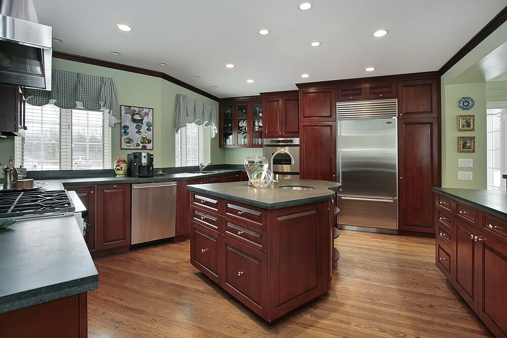 Kitchens With Extensive Dark Wood Throughout - Colors for kitchen cabinets and walls