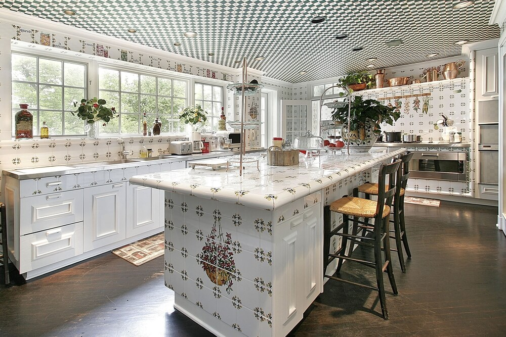All White Kitchen Making Use Of Extensive Pattern Details On Nearly Every Surface From