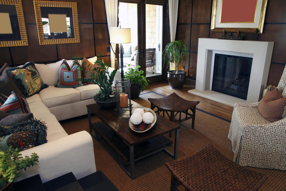 Asian Inspired Living Room Design With Brown Wall Tiles, White Fireplace,  White L