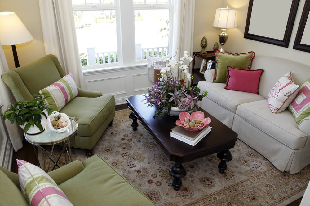 Tiny Living Room Space In Colorful Design With Green Armchairs And  Off White Sofa.