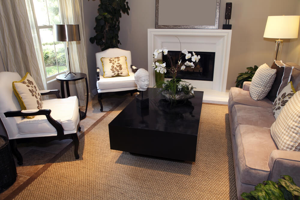 Professional Design Living Room With White Fireplace Rectangle Dark Block Style Coffee Table