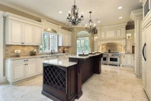 White Kitchen with Dark Island