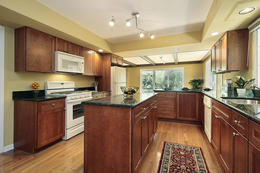 43 kitchens with extensive dark wood throughout for Kitchen paint colors with dark wood cabinets
