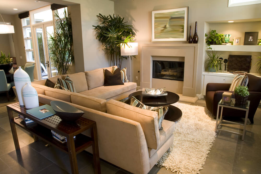 Great Attention To Detail In This Very Small Living Room Space With  L Shaped Sofa