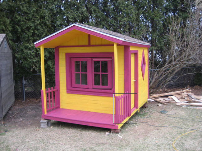Completed wood pallet playhouse for kids front view