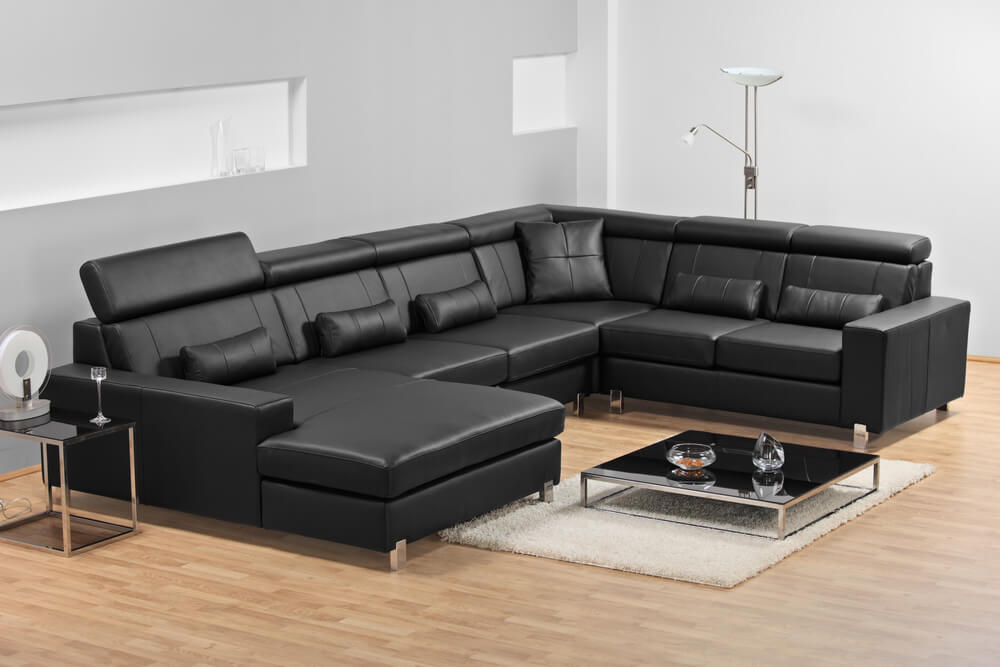 Captivating Black Leather Sectional Sofa