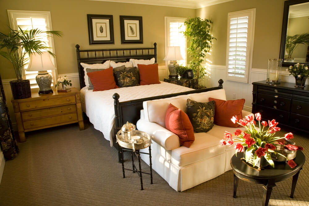 Loveseat With Coffee Table At The Foot Of The Bed · Master Bedroom ...