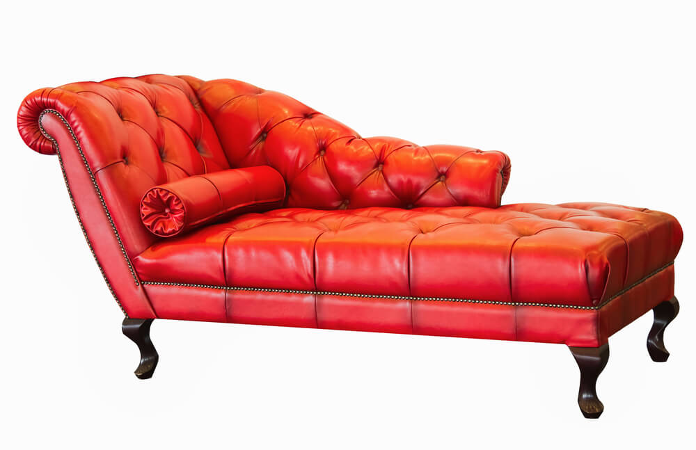 Red leather chaise lounge