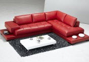 Red chaise lounge sectional for small spaces