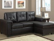 Small dark brown chaise lounge sectional