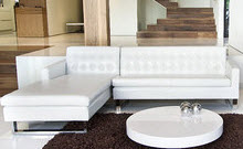 Sleek white modern sectional with chaise lounge