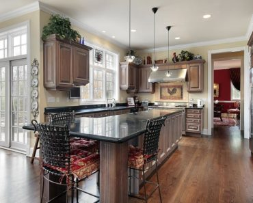 Elegant dark wood kitchen design with spacious layout