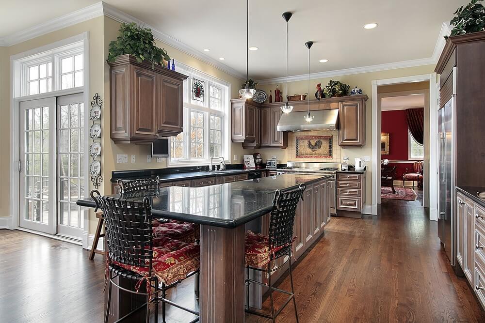 43 kitchens with extensive dark wood throughout - Dark wood cabinets kitchen design ...