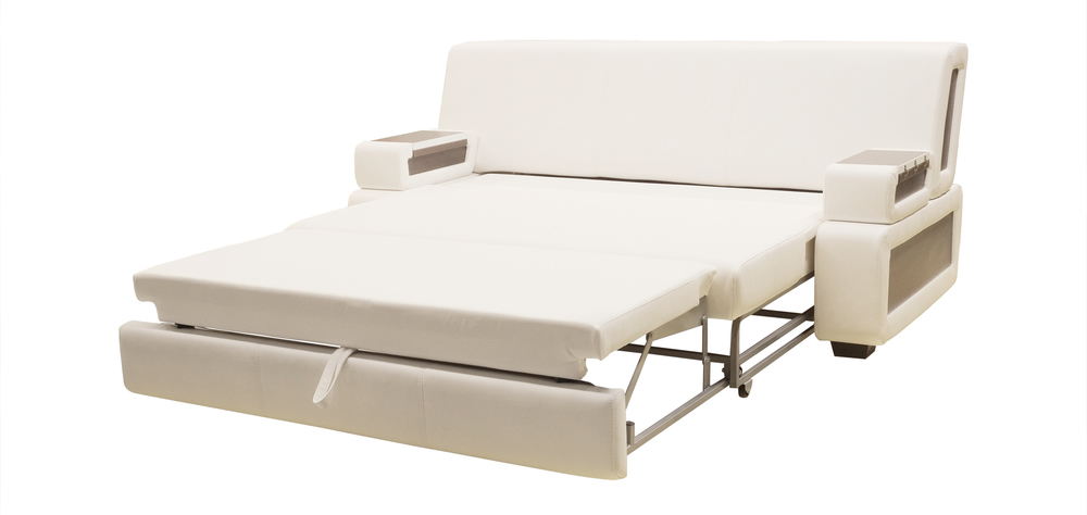 white pull out sofa