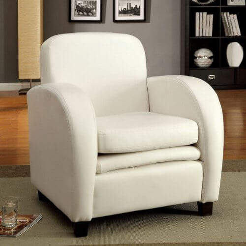 This white leatherette accent chair by Lugano features modern styled curves, extra padded seat cushion, and a wooden frame with wood feet. The faux leather surface is available in red, black, and grey, as well as red, and offers an affordable price compared with true leather.