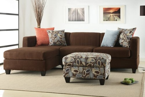 This microfiber sectional is fully reversible and comes with four accent pillows and the option to buy a complementing ottoman.