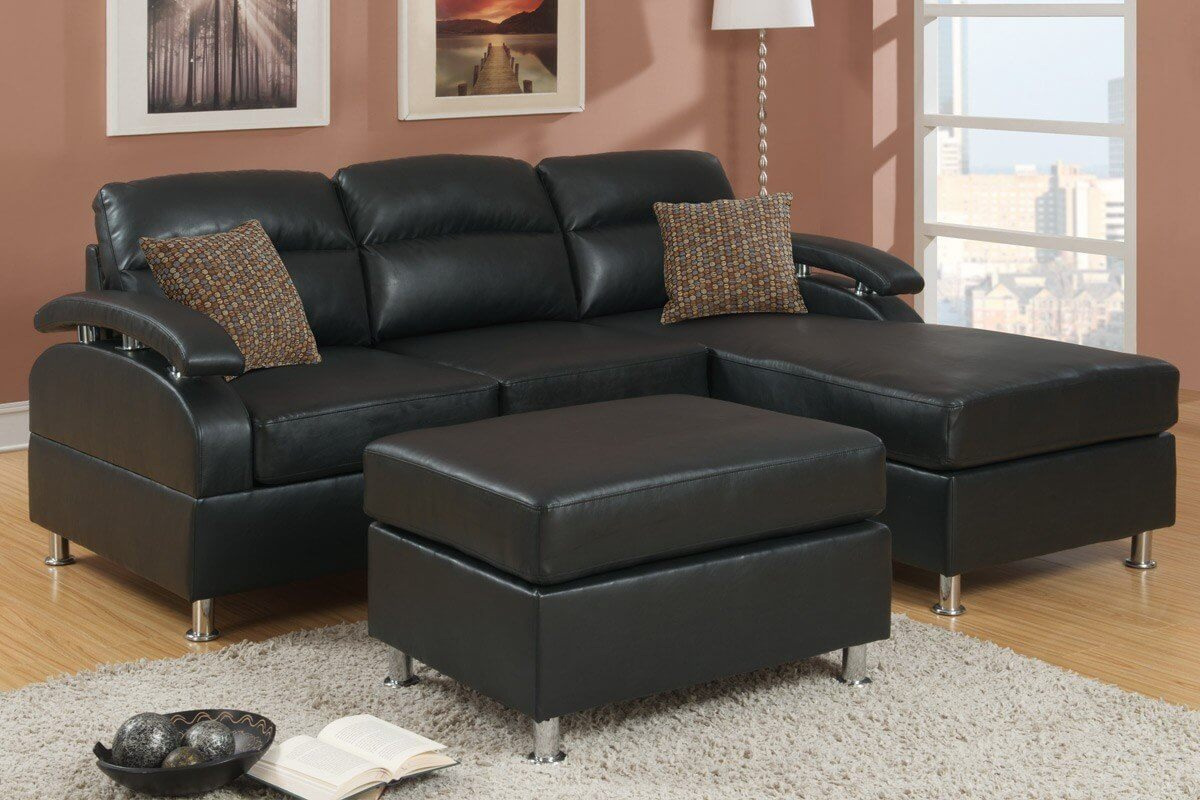 This two-seater comes with a matching ottoman and two throw pillows. : black leather sectional with chaise - Sectionals, Sofas & Couches