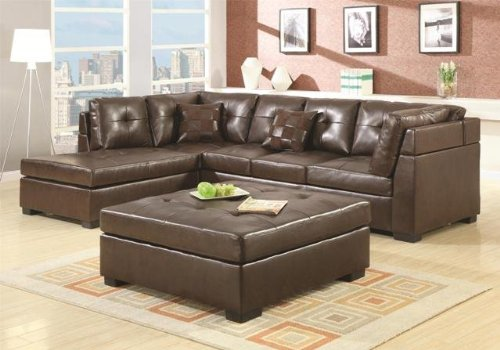 This large sectional by Coaster is made with bonded leather for an elegant aesthetic for a lower price.