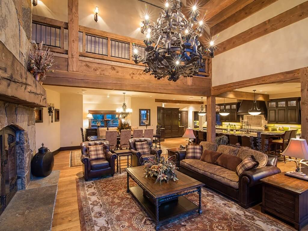 Ski Chalet Interior Design log and stone colorado ski chalet with great room