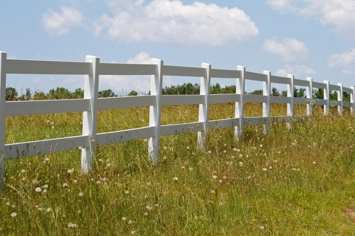 Here's another farm style white fence with widely spaced horizontal beams.