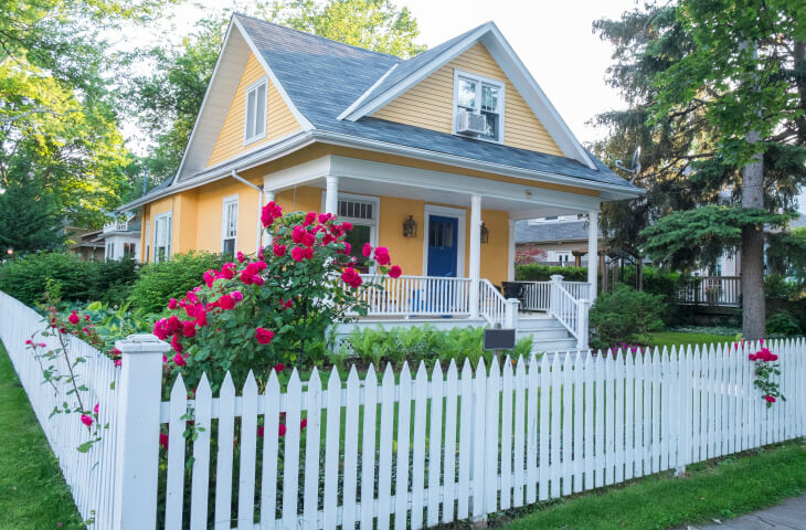 Cute home with white picket fence  75 Fence Designs Styles Patterns Tops Materials and Ideas