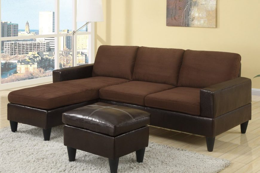 Another great option for small apartments and homes, featuring a reversible chaise, faux leather base, and easy to care for microfiber upholstery in a rich chocolate brown. The leather-look vinyl ottoman comes included with the three-piece sectional.