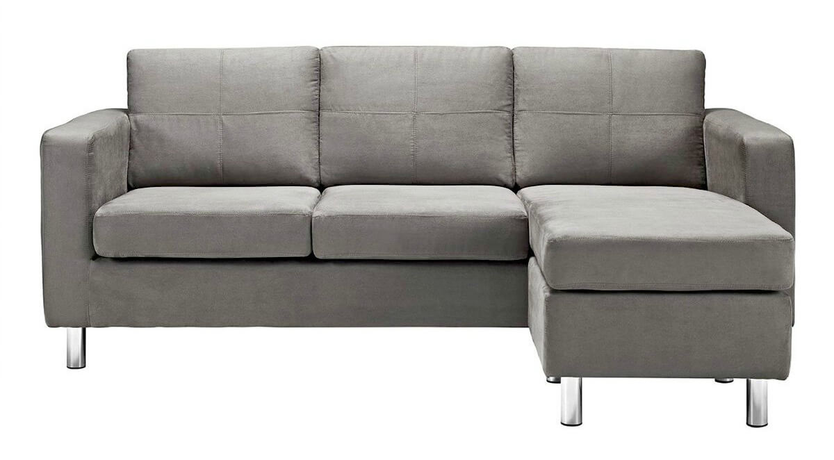 Gentil A Cozy Modern Sectional In A Light Gray Microfiber Upholstery Thatu0027s  Incredibly Popular Right Now.