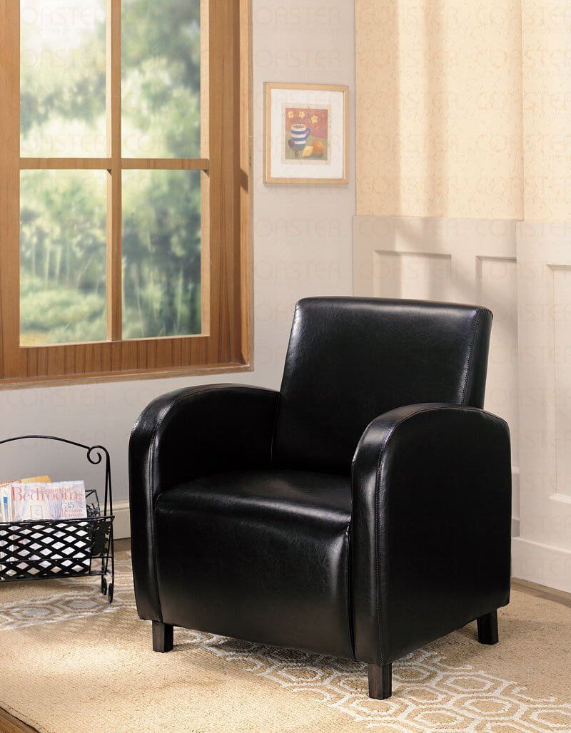 This very inexpensive chair (it's vinyl... not leather), offers high arms and back with a well cushioned seat.  It's a great fit as an accent chair for living rooms with matching furniture color of offset lighter furniture