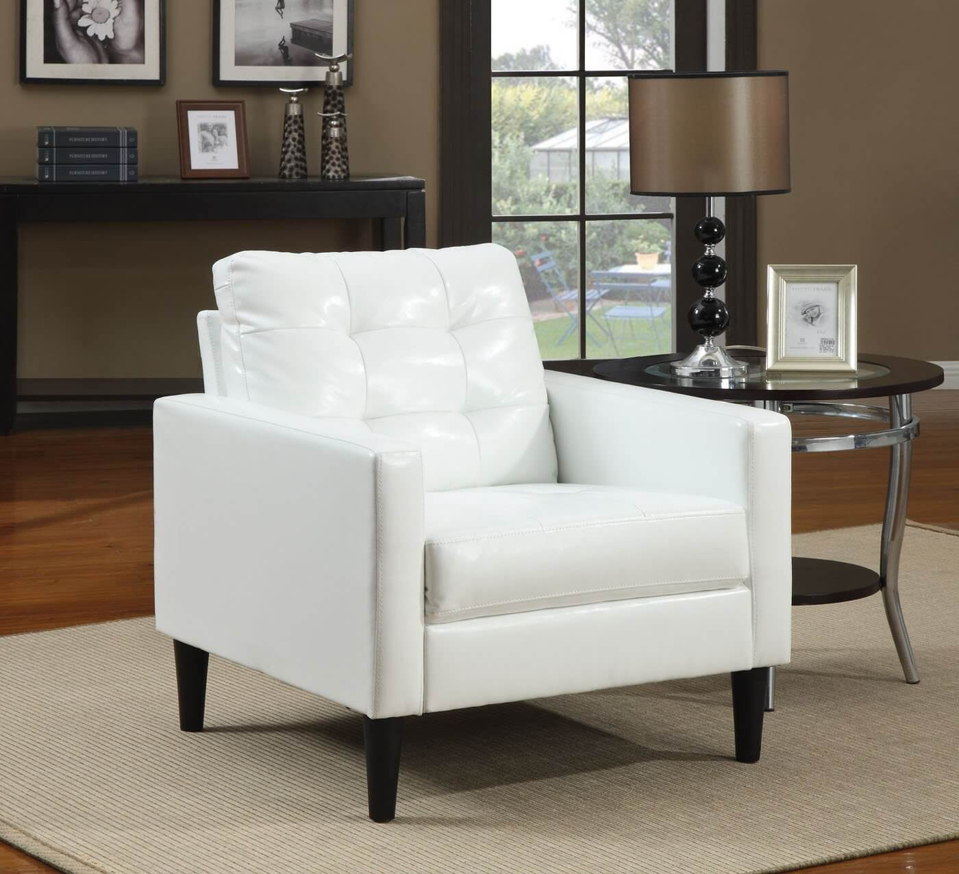 Balin collection accent chair from acme features stuffed cushion back in polyurethane faux white leather