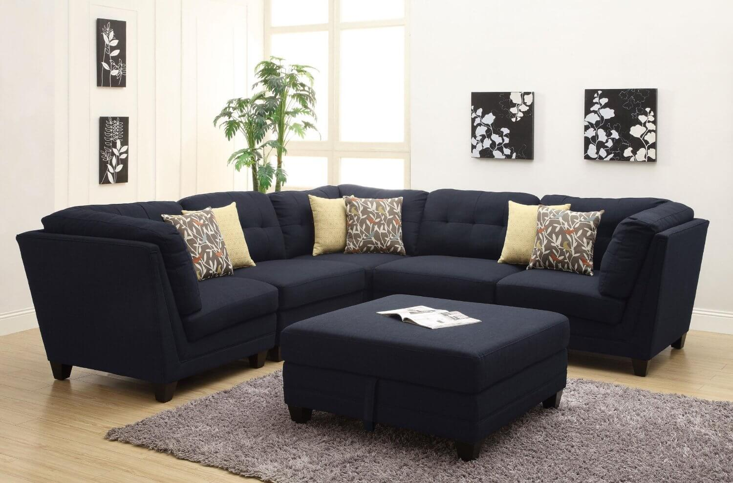 Black Sectional Couches black fabric sectional sofa - creditrestore